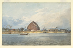 The granary (golghar) at Bankipur, near Patna (Bihar) seen from the river; European officials' houses near by